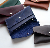Лонгволет. Кожаный кошелек из синей винтажной кожи