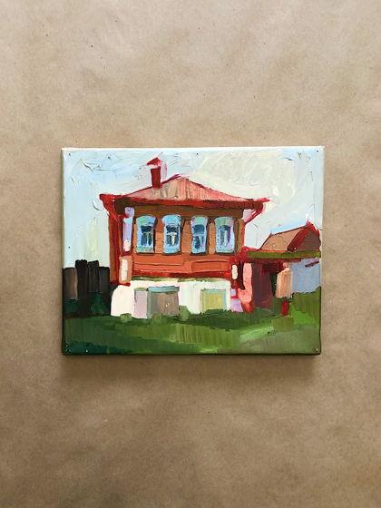 """Маленькая картина маслом """"Красный дом"""""""
