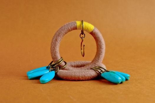Крупные серьги-кольца с камнями. Бохо-серьги.