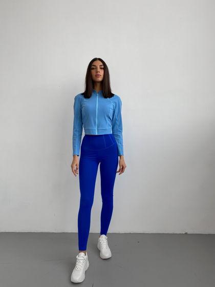 Спортивные леггинсы с широким поясом. Цвет: синий. Материал: бифлекс.