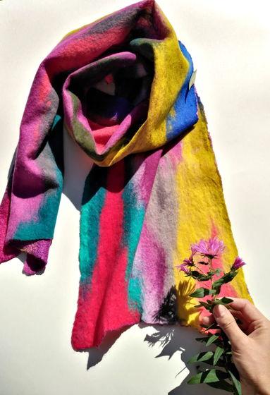 """шарф валяный из шерсти """"Краски осени"""""""
