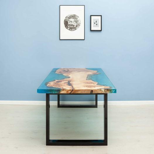 Стол из слэба тополя ( голубая заливка