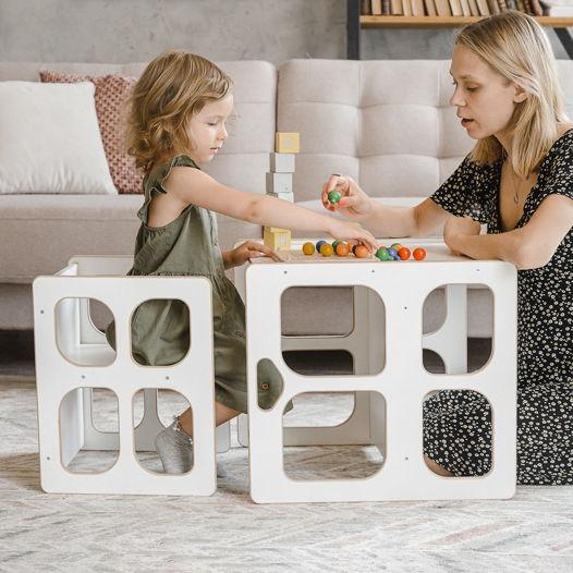 Комплект белой детской мебели Монтессори Киддис Лайт стол и стул трансформер