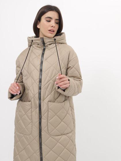 куртка длинная женская бежевая