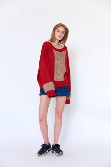 Красный свитер оверсайз с косой