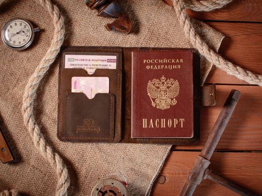 Обложка на автодокументы кожаная CHASE цвет Шоколад