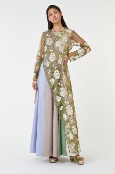"""Комплект из платья с туникой коллекции """"Floreus"""" выполнено из итальянского льна (30%) с вискозой (70%), туника (п/э)"""