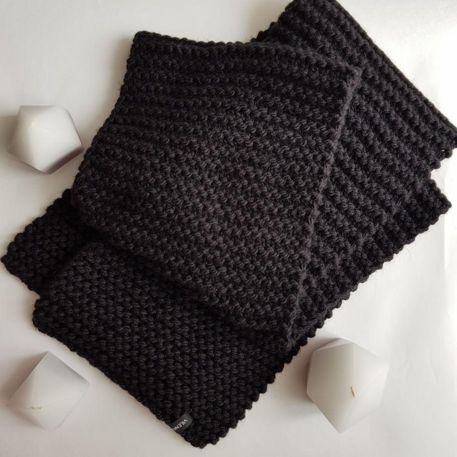 Вязаный шарф длинный черный универсальный