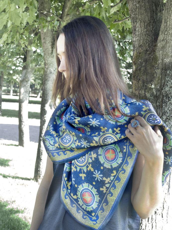 """Шелковый платок с  орнаментом """"Плацидия"""""""