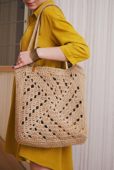 Большая ажурная сумка-шоппер / авоська из джута