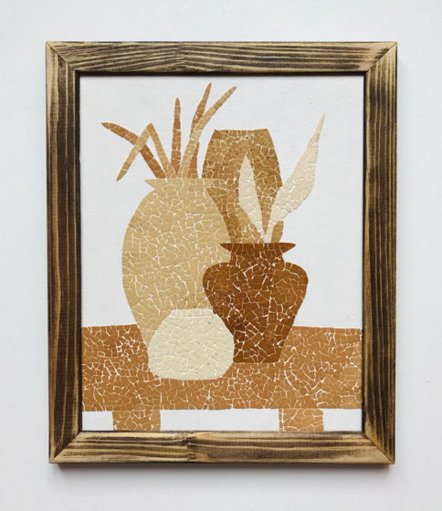 """Картина 19*24 см """"Вазы»  ручной работы из яичной скорлупы натуральных оттенков"""