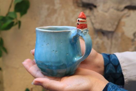 Чашка с маяком голубая