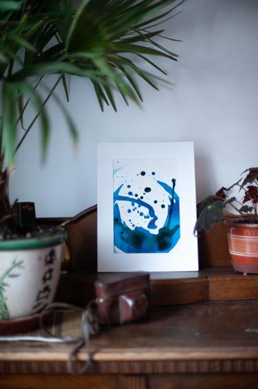 Чернильные сны каракатицы . Рисунок на бумаге . Акрил . 20х29 см