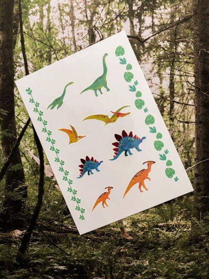 """Временные переводные татуировки MimiToo """"Динозавры"""" для детей и взрослых"""