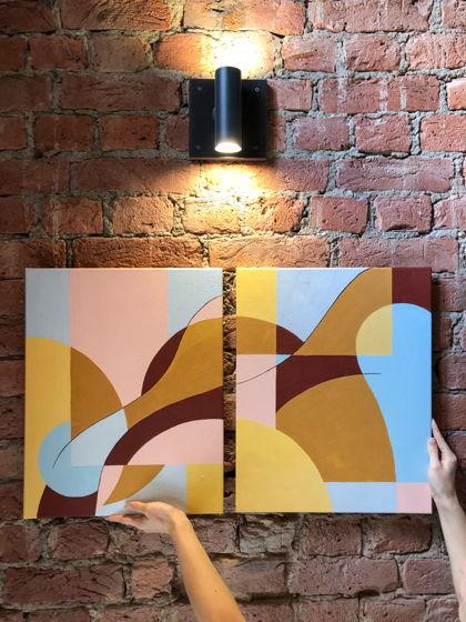 "Картина абстрактная диптих ""На пляже"" 40х50 см"