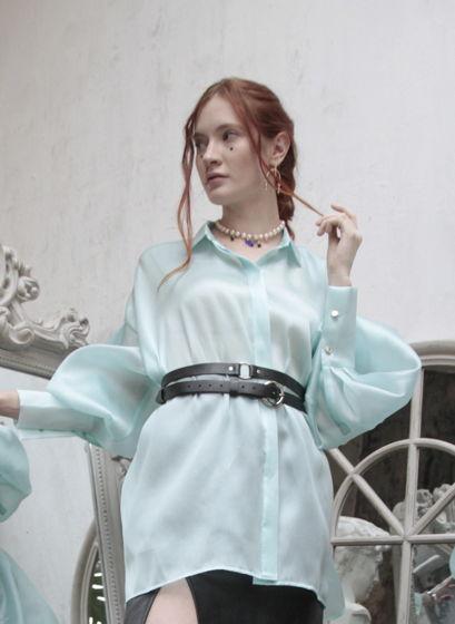 Рубашка  Queen из шелковой органзы Tiffany BLUE oversize