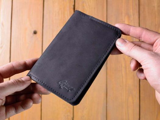 Обложка на паспорт из натуральной кожи -GUARD- цвет Черный Уголь