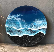 Вулканический пляж - картина эпоксидной смолой 40 см