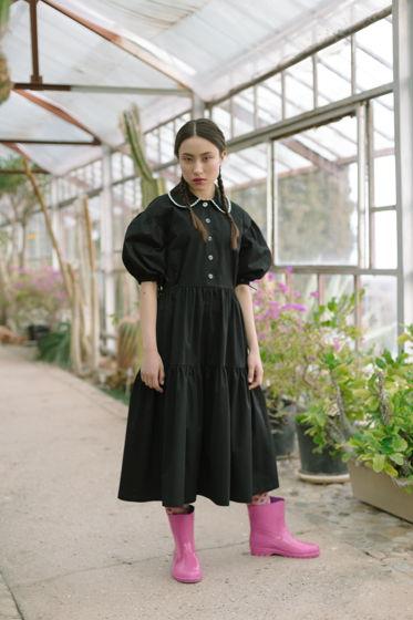 Платье Одри с круглым воротничком в чёрном цвете