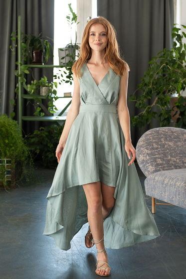 Платье Вайна с асимметричным подолом, бирюзовый