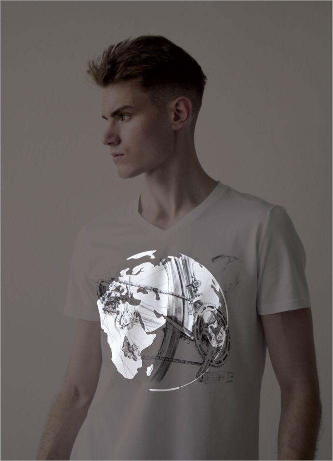 """Мужские футболки с принтом """"велосипед"""",светящиеся в темноте"""