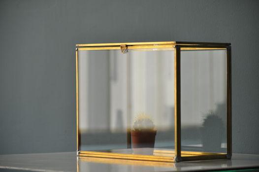 Стеклянный сундук с латунным профилем