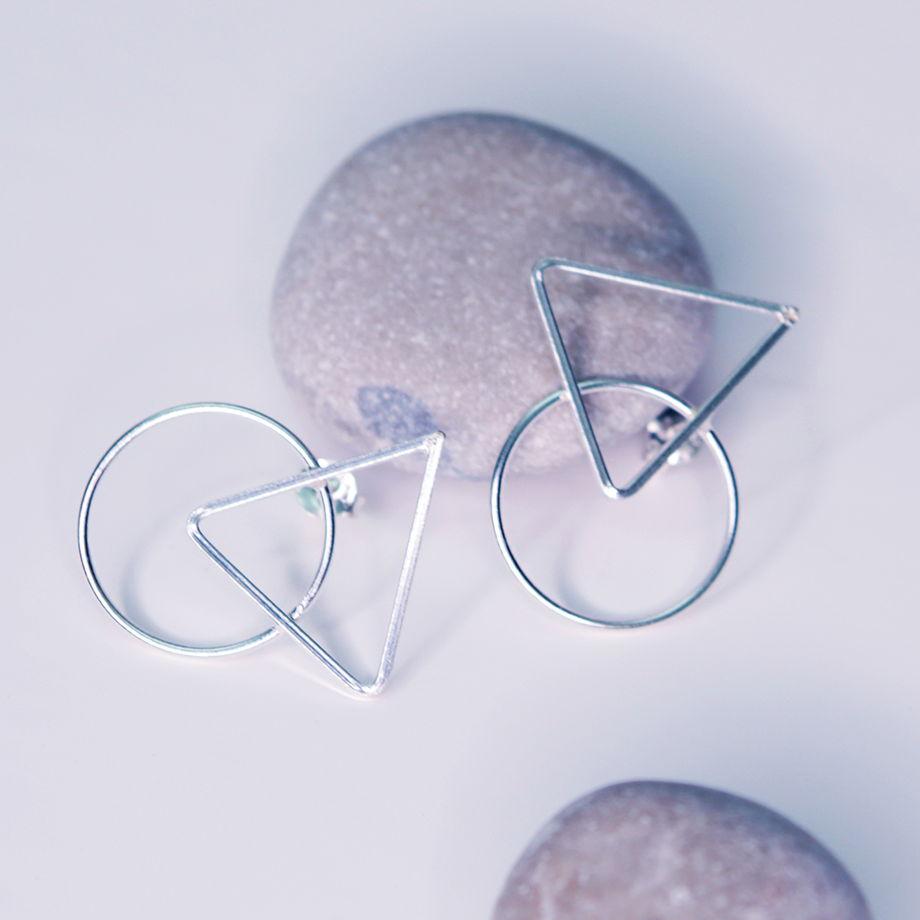 Серьги гвоздики колечко и треугольник «Геометрия»
