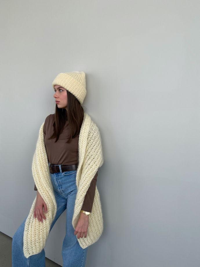 Комплект двухслойная шапка+шарф из мохера, цвет шампань
