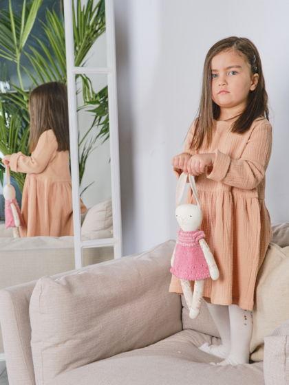 Муслиновое платье для девочки (бежевый)