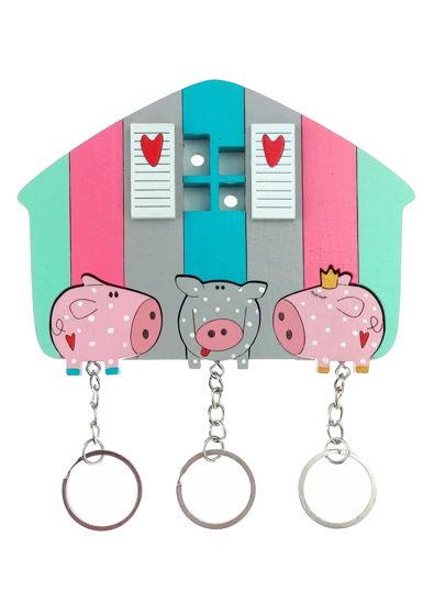 ключница «свинки в горошек х3»