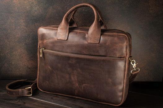 Кожаный мужской портфель / сумка для ноутбука -OXFORD- цвет Шоколад