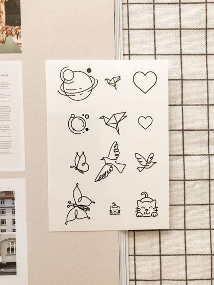 """Временные переводные татуировки MimiToo """"Микс контур"""" для детей и взрослых"""