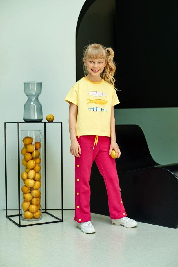 Трикотажная футболка желтого цвета Fishes