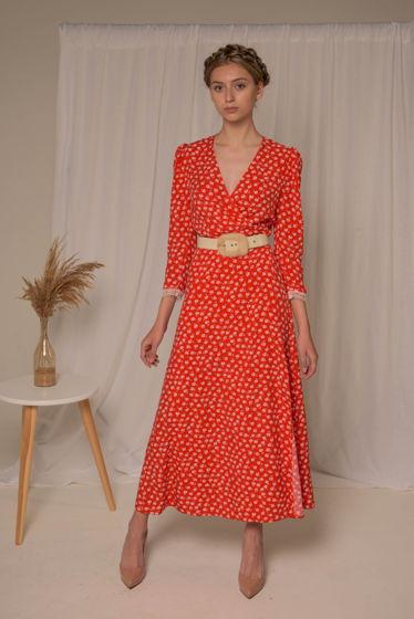 Алое платье миди с цветочным принтом на запахе и нежнейшим кружевом на объемных рукавах 3/4 из 100% вискозы