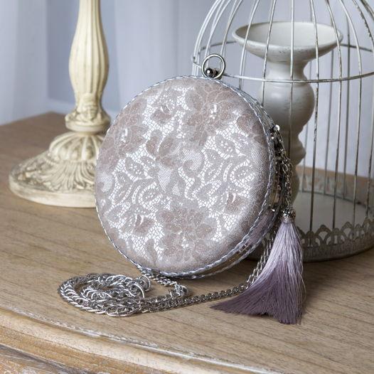 Клатч круглый кружевной из натуральной кожи Lace flowers