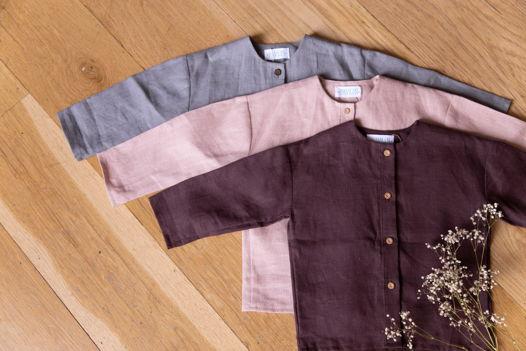 Рубашка унисекс на пуговицах с рисунком на спинке из 100% льна
