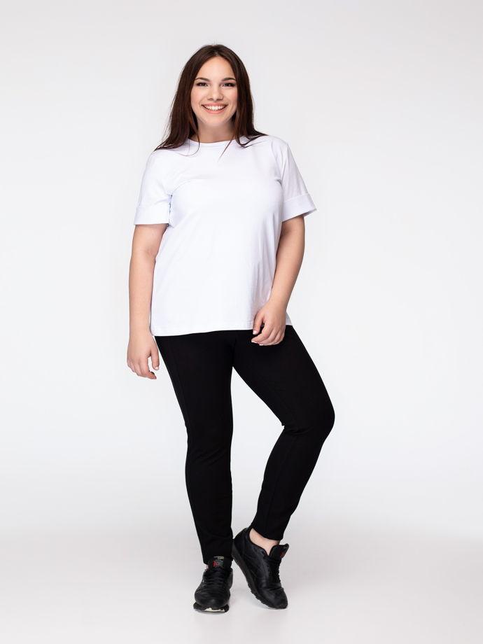 Белая удлиненная футболка из премиального трикотажа