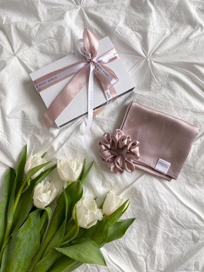 Подарочный набор полотенце для лица и резинка для волос STANDART из натурального шелка