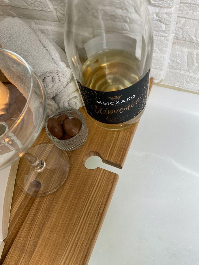 Полка для ванной натуральная из дерева