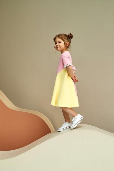 Платье из хлопка  розово-желтого цвета с ассиметричной деталью Perla
