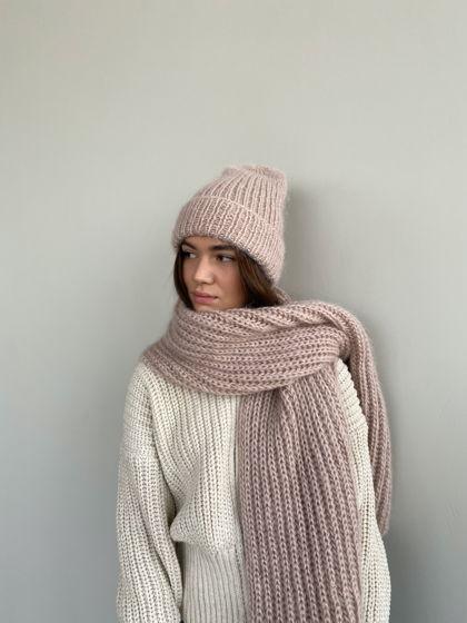 Комплект шапка + шарф из мохера, цвет молочный