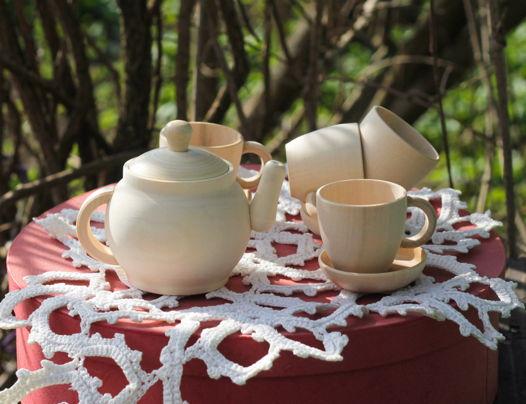 Деревянный чайный набор для детских игр и творчества