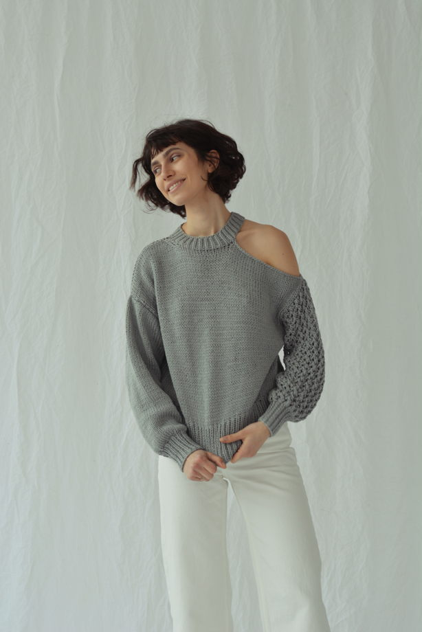Асимметричный хлопковый свитер ( более 20 цветов)