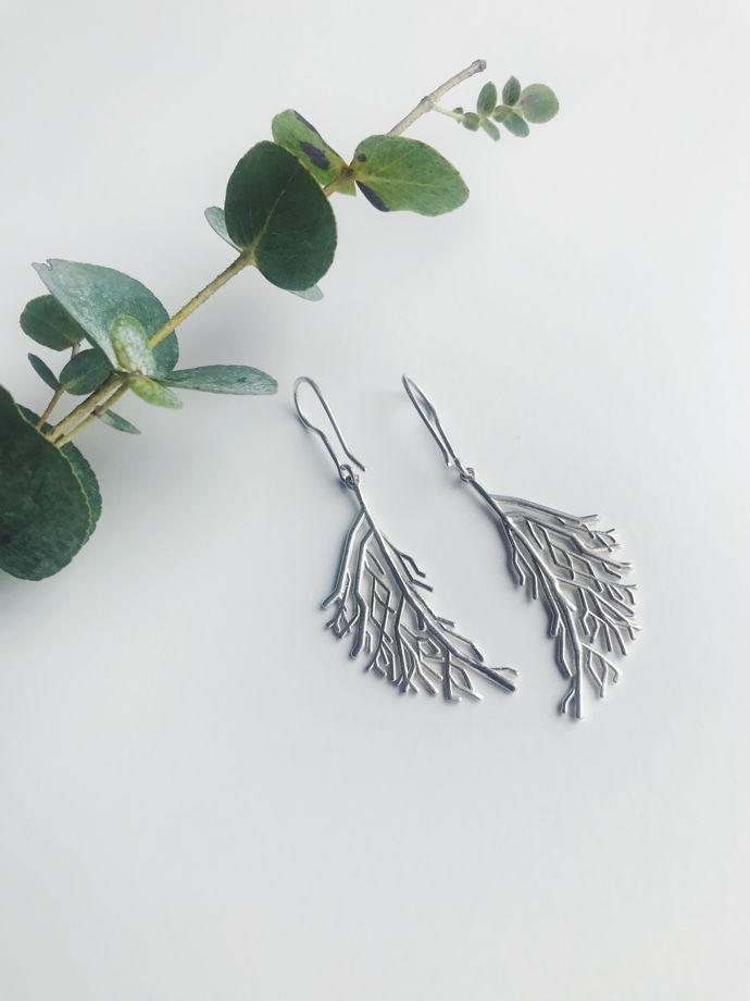 "Серьги "" Branches""  серебро"