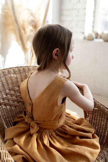 Детский сарафан с открытой спинкой МЕДОВЫЙ