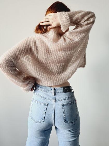 Розовый свитер из мохера и шелка QUEEN