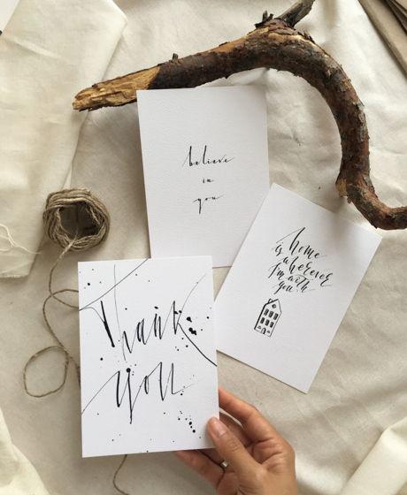 """Набор открыток """"Каллиграфия"""" Каллиграфия тушью о доме, поддержке, благодарности"""