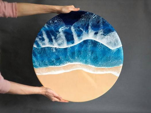 Морское побережье, 50 см, эпоксидная смола, глянец