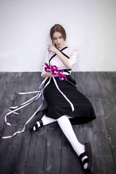 Платье-халат женское розовое с черным