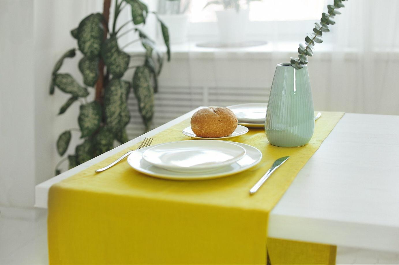 Раннер из умягченного льна лимонного цвета